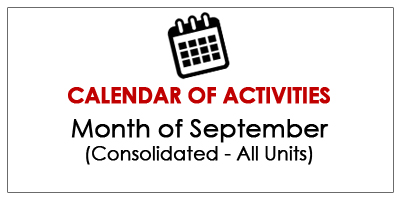 Calendar of Activities - September 2019